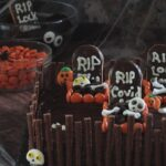 Image of a Halloween graveyard cake.