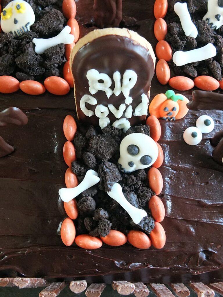 Top down image of Halloween graveyard cake.