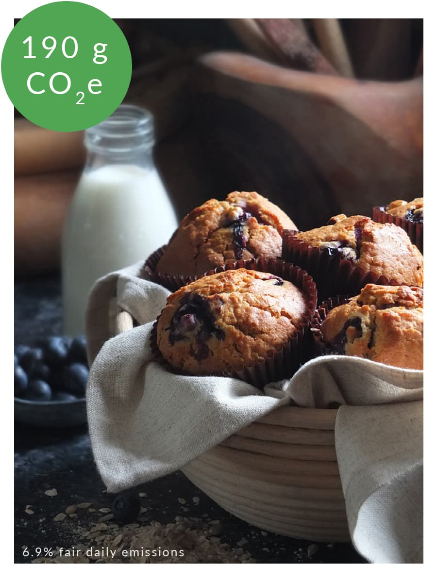 Image of blueberry muffins with carbon footprint labelling.
