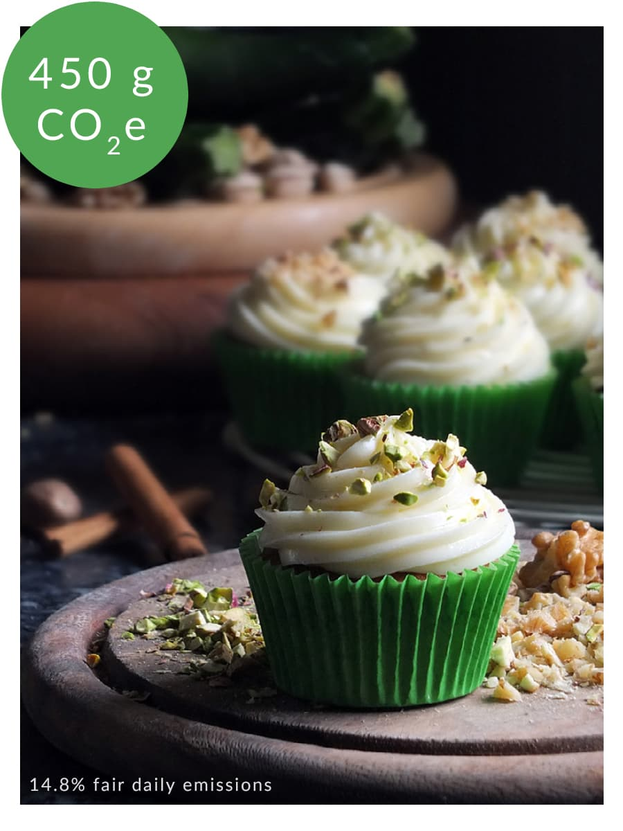 Carbon footprint labelling on food blogger recipe image.