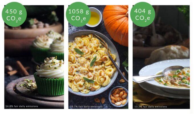 Carbon footprint labels for recipes