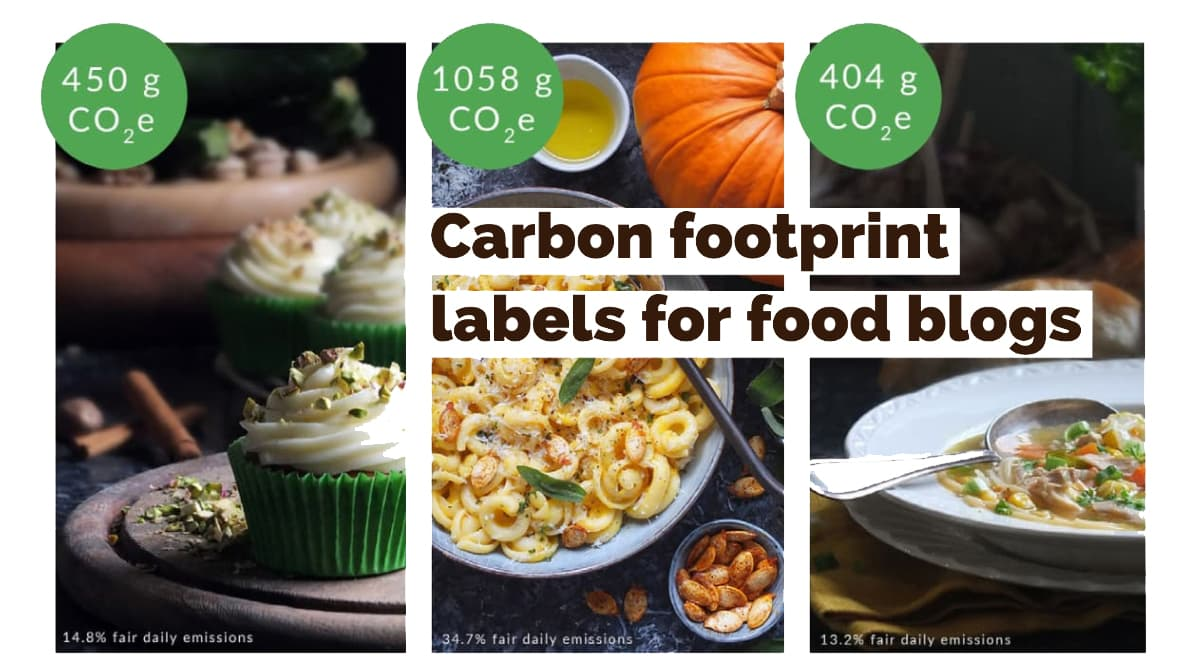 Collage image for carbon footprint labels for food blogs.