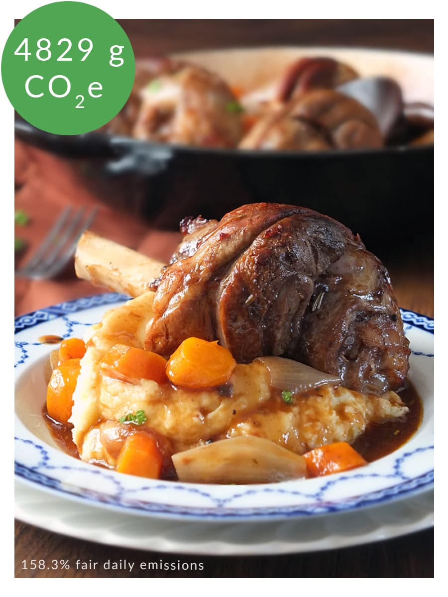 Photo of lamb shanks recipe with carbon labelling in top left corner.