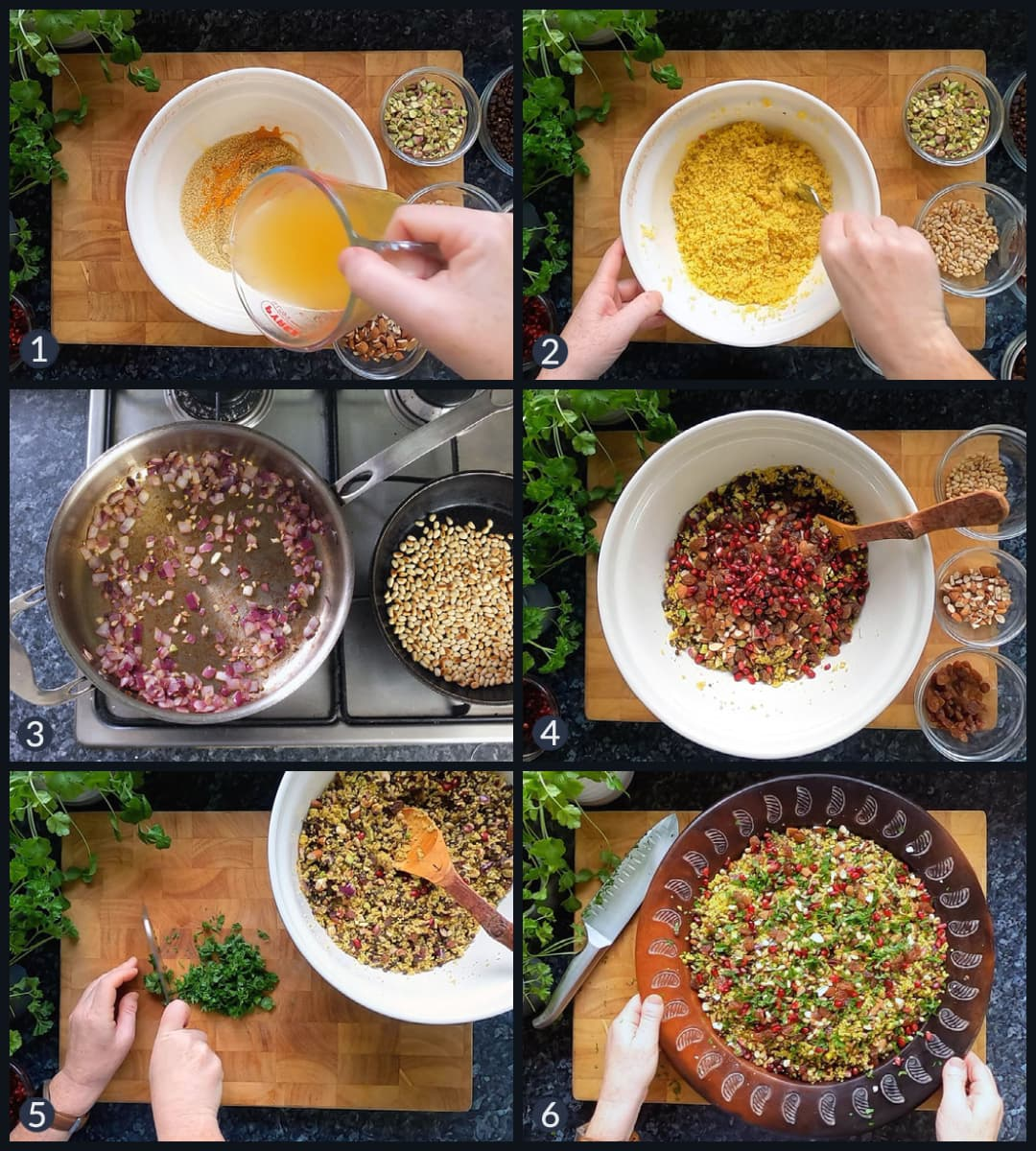 Step by step photo collage how to make jewelled couscous.