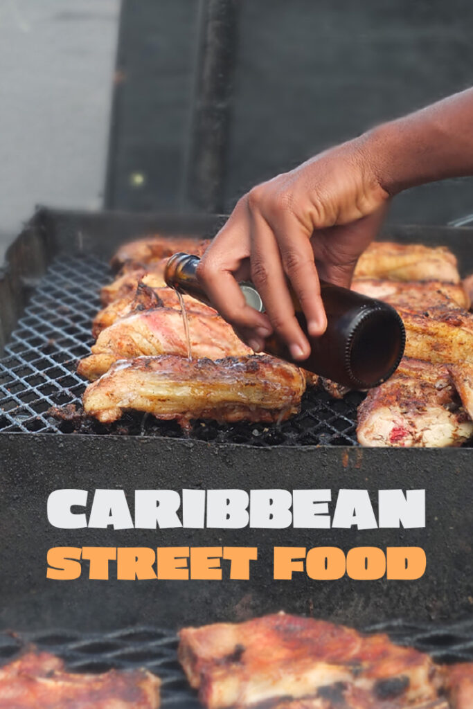 Pinterest pin with text overlay saying 'Caribbean Street Food'.