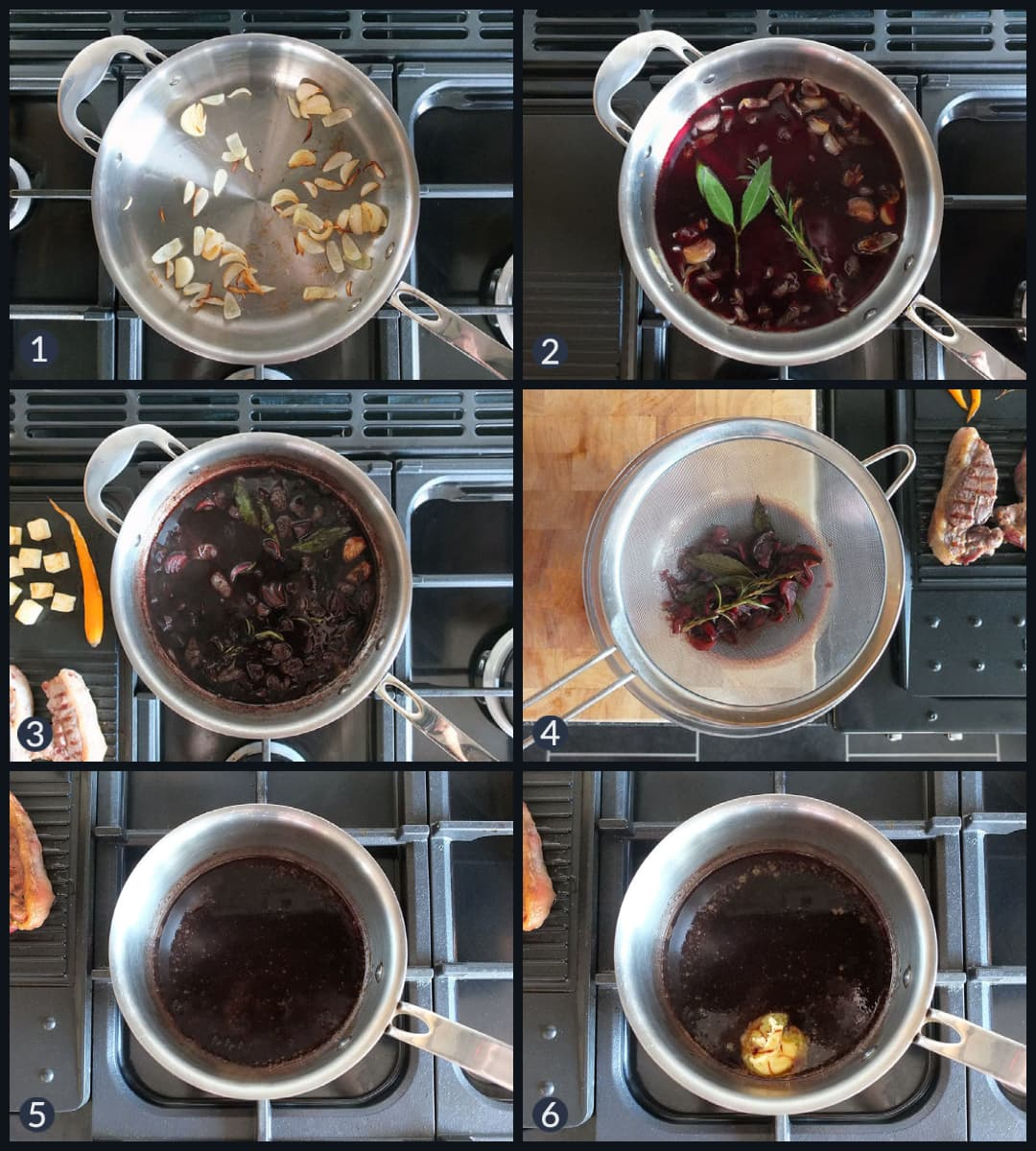 Six step collage image how to make red wine jus.