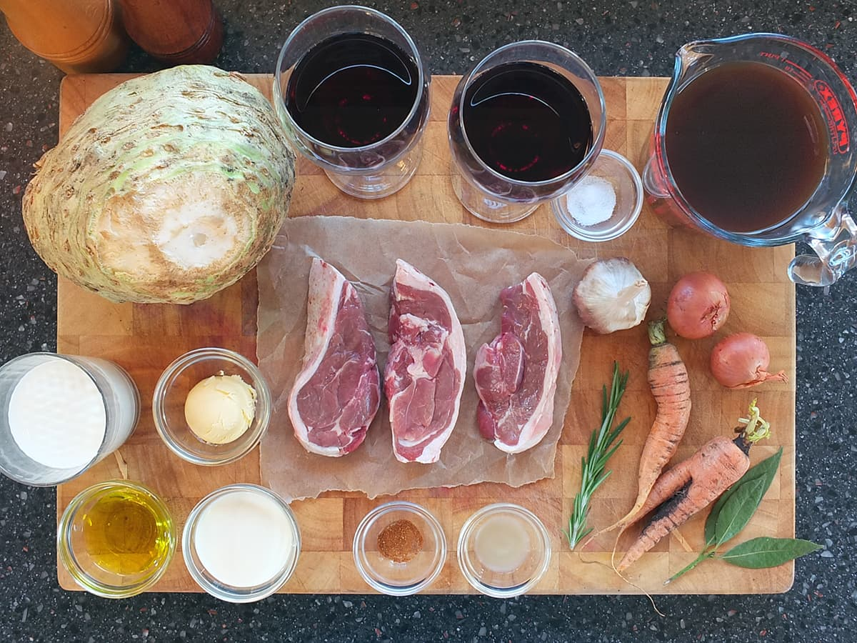 Photograph of the ingredients needed to make a romantic lamb meal for two people.