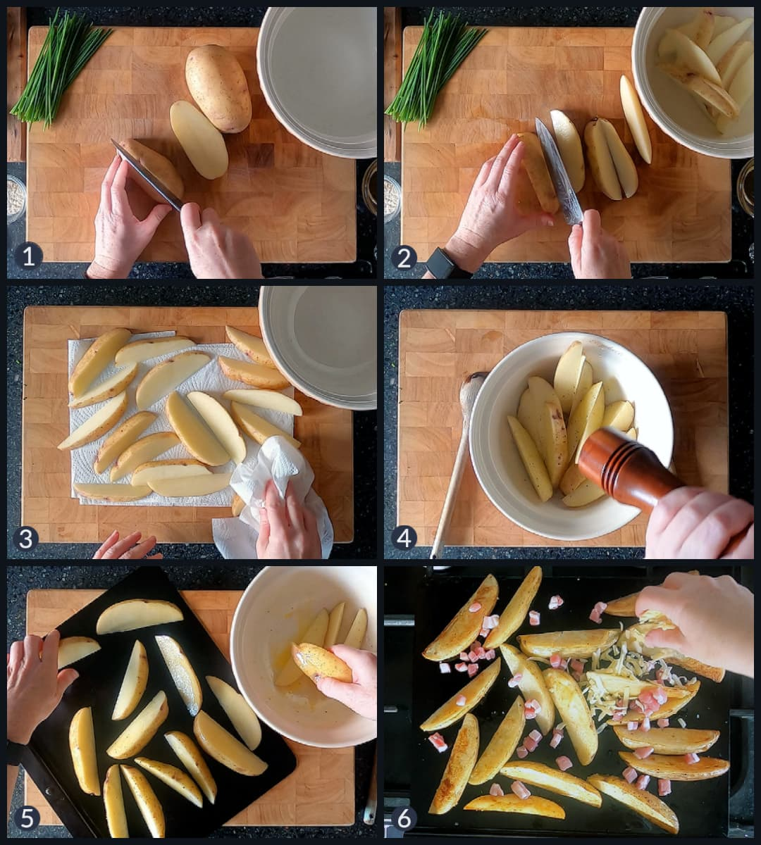 Six step collage showing how to make cheesy bacon potato wedges.