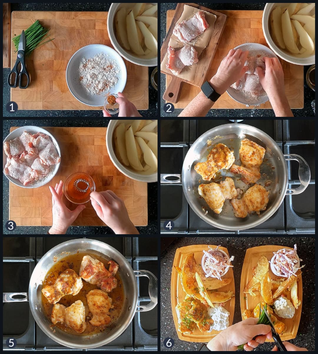 Six step collage image depicting the different steps to making a Superbowl chicken recipe.