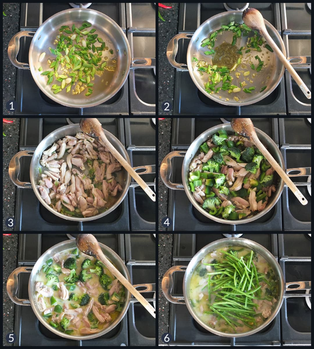 Six step collage showing how to make a Thai green curry from scratch. Images depict cooking steps on a Rangemaster stove top.