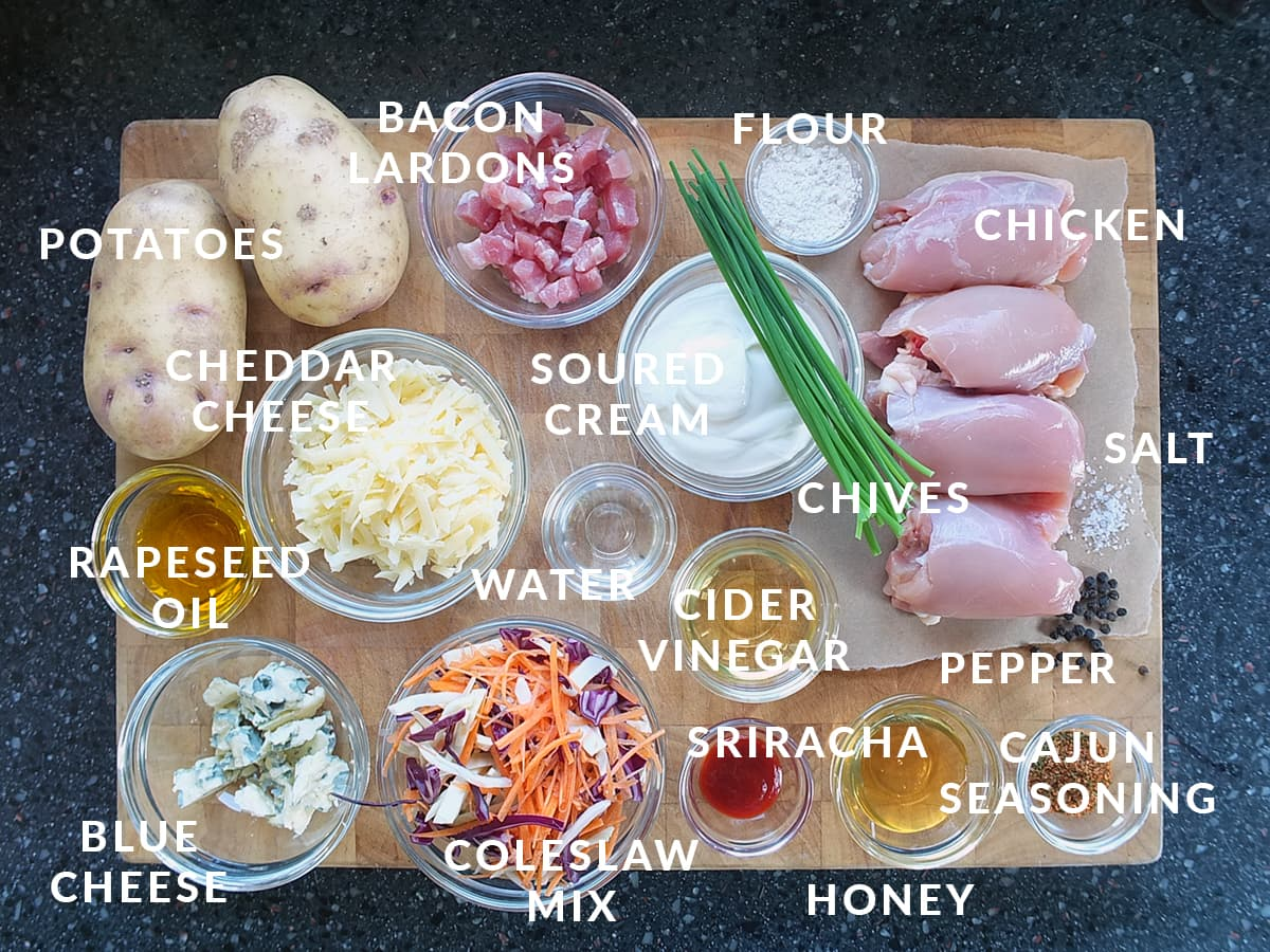 Top down labelled image of all the ingredients needed to make this recipe.