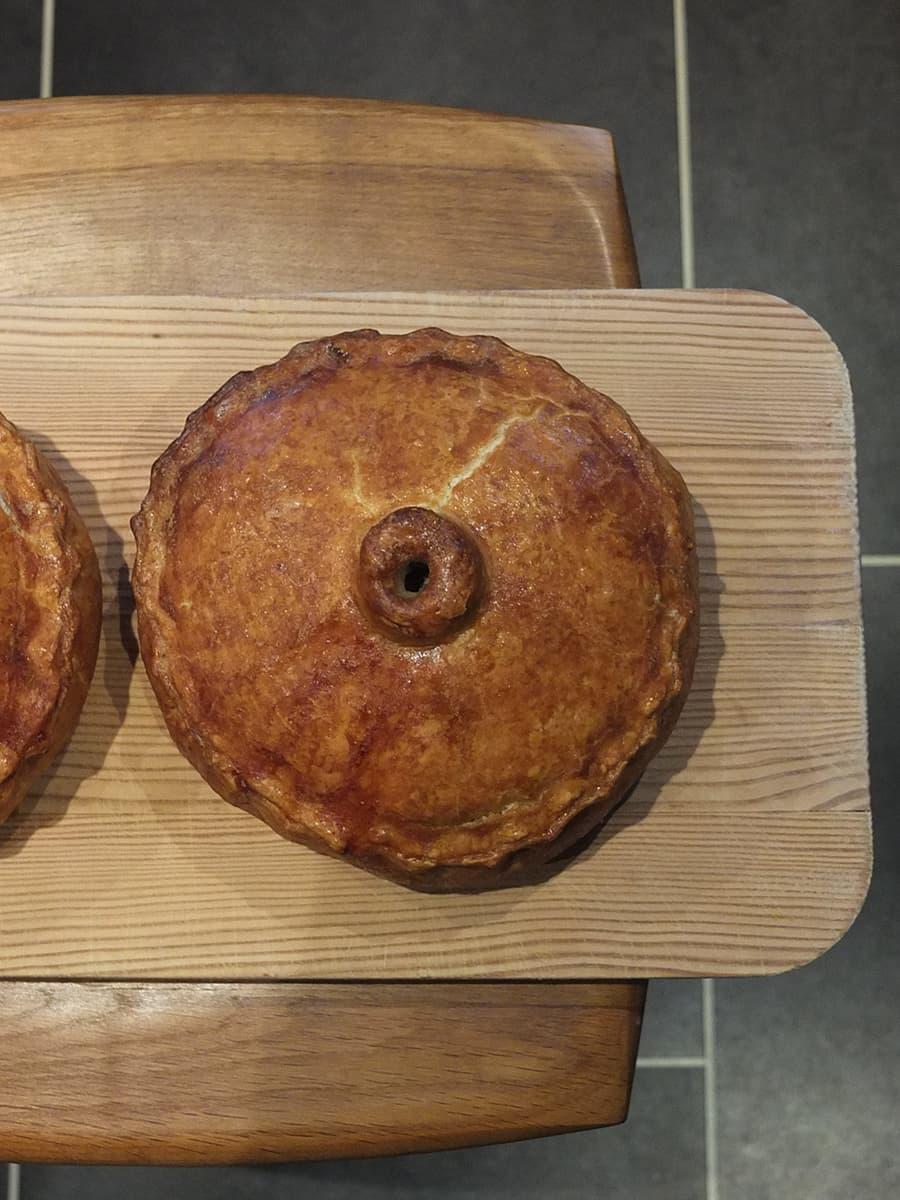 Top down photo of a hand-raised pork pie.