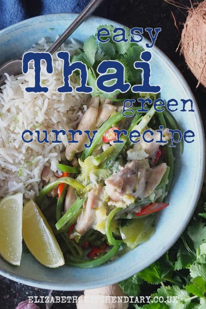 Pinterest pin with text overlay reading: Easy Thai green curry recipe.