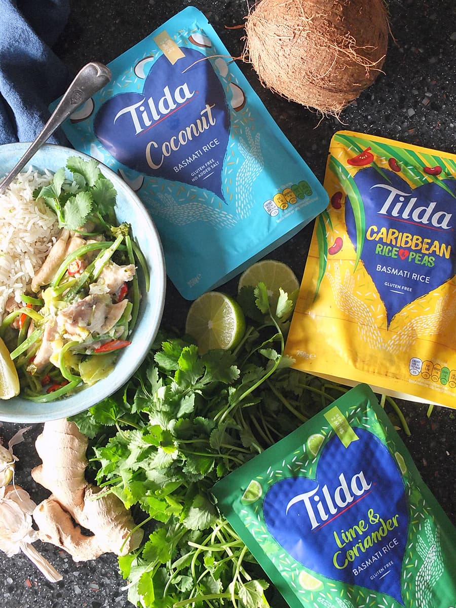 Image of three flavours of Tilda microwaveable rice.