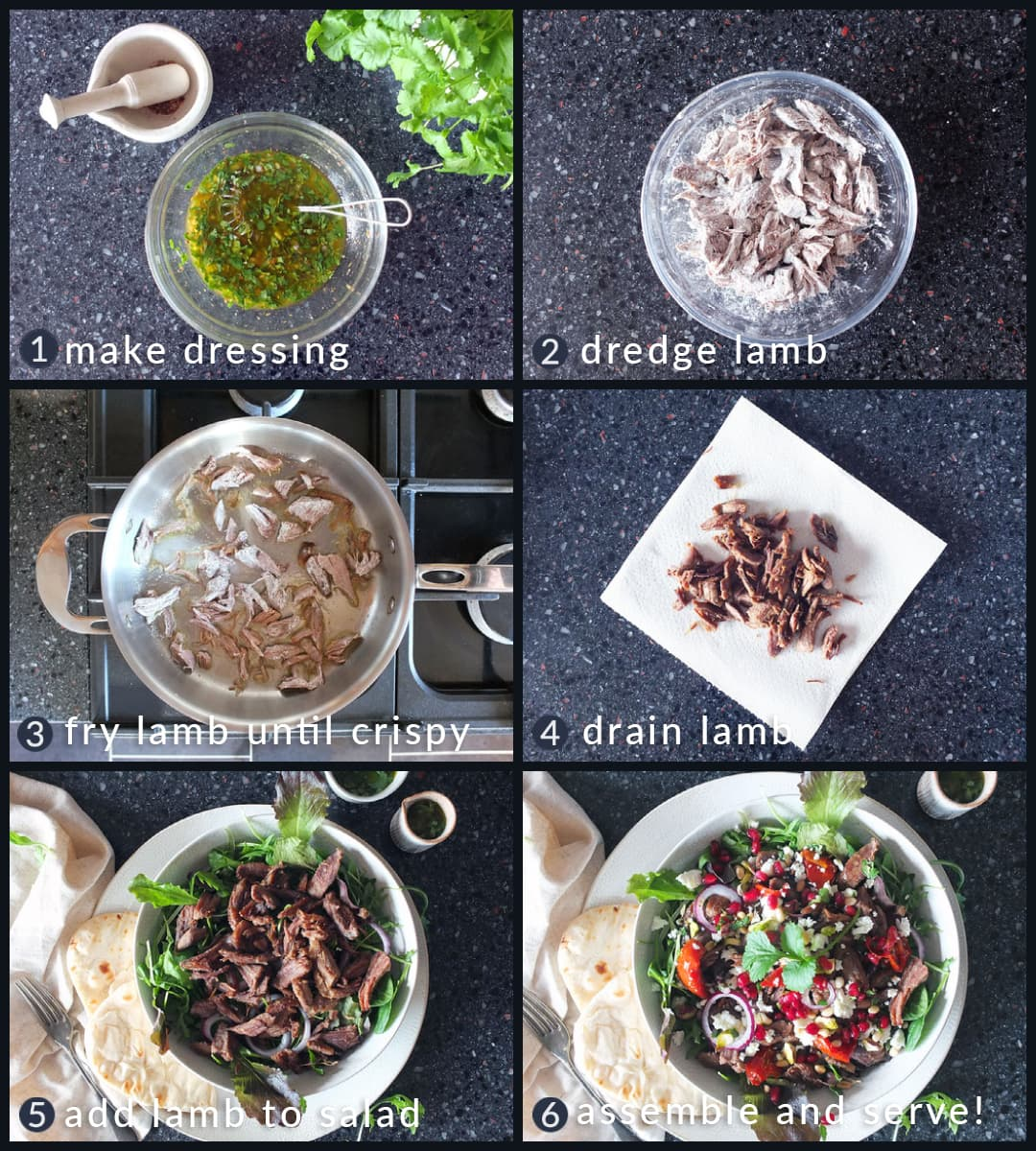 Six step collage image depicting how to make a crispy lamb salad.