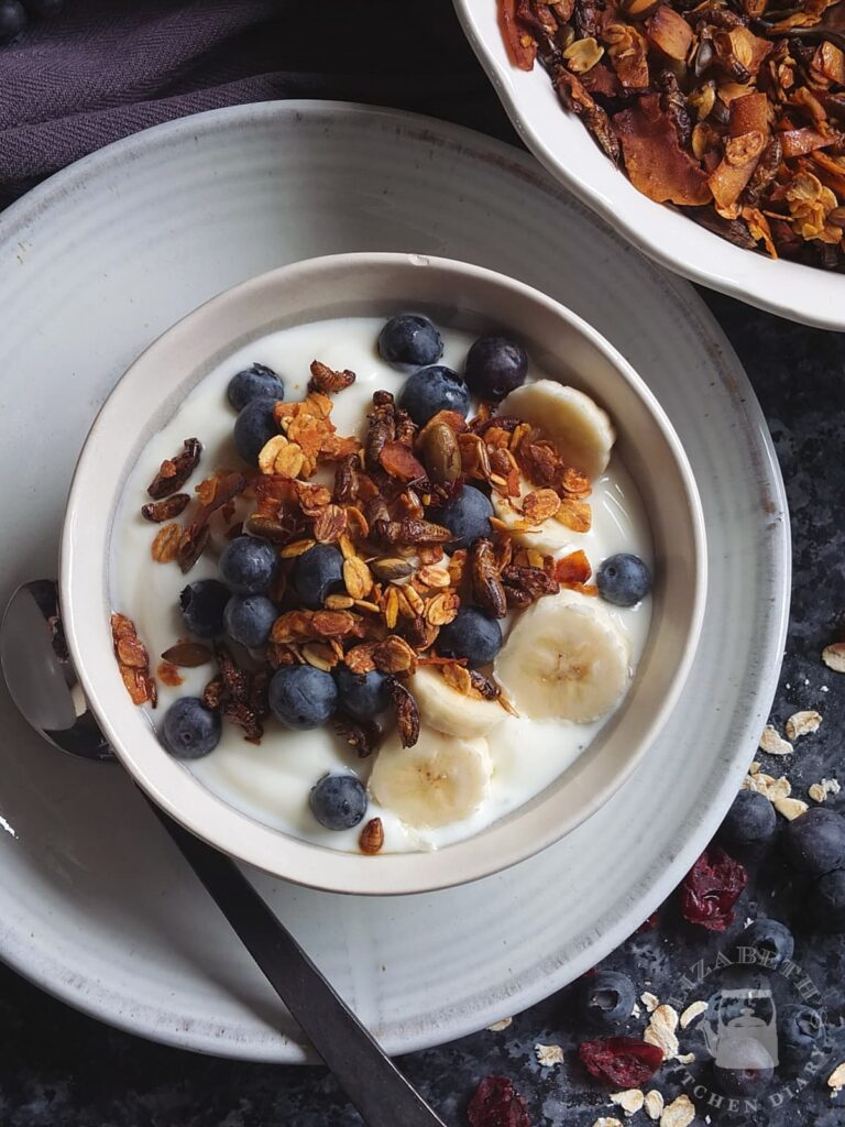 Top down image of a breakfast bowl with cricket granola made with edible crickets packed full of cricket protein.