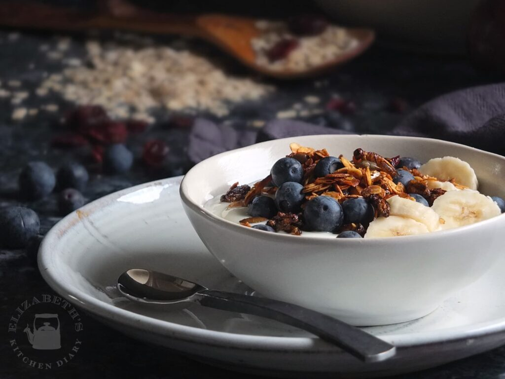Photo of crunchy cricket granola served with yoghurt and fruit.
