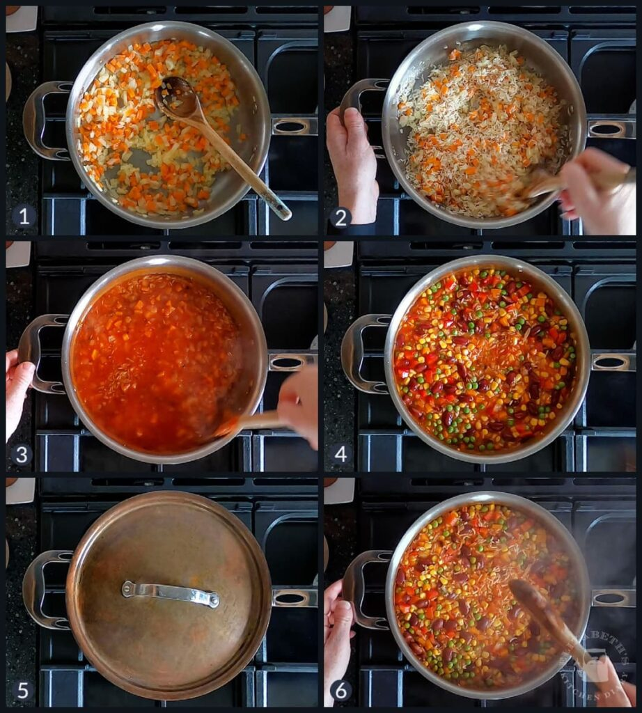Top down collage of the six steps needed to make this super easy recipe.