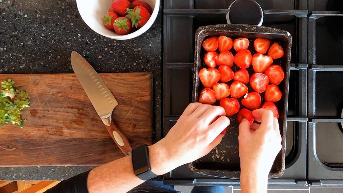 8 arrange cut strawberries on baking tray