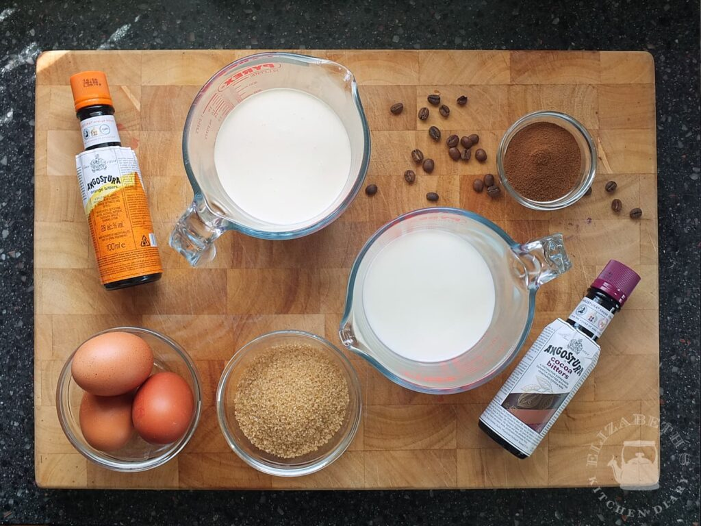 Top down image of the ingredients needed to make coffee ice cream from scratch.