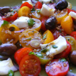 Tomato, Red Onion & Goats Cheese Salad with a Balsamic Vinegar Dressing