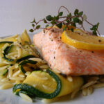 Foil-baked Shetland Salmon with Orzo & Courgette Ribbons