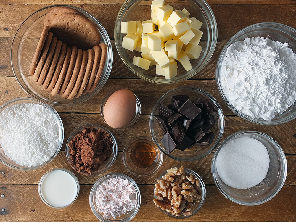Ingredients for Canadian Nanaimo Bars