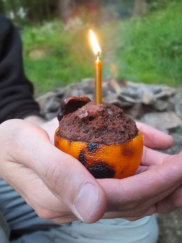 Chocolate Orange Campfire Cake made with real ingredients (no boxed cake mix!)