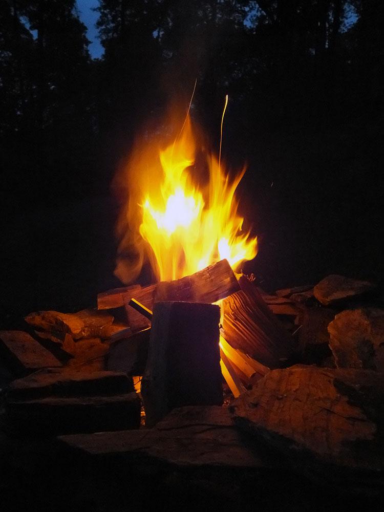 Vegan Camping Recipes - Campfire at night
