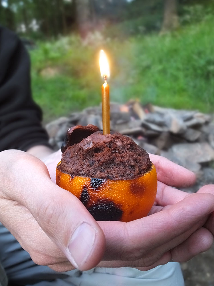 Chocolate Orange Campfire Cake with no cake mix
