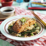 Marinated Norwegian salmon with asparagus, shiitake mushroom, sesame seed and rice noodle salad