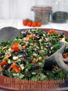 Kale, Brown Rice & Red Quinoa Salad with Miso Dressing