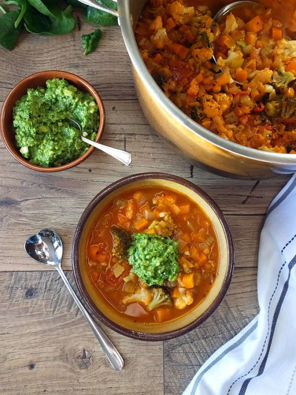 Chunky Vegetable Soup with Spinach Cashew Pesto