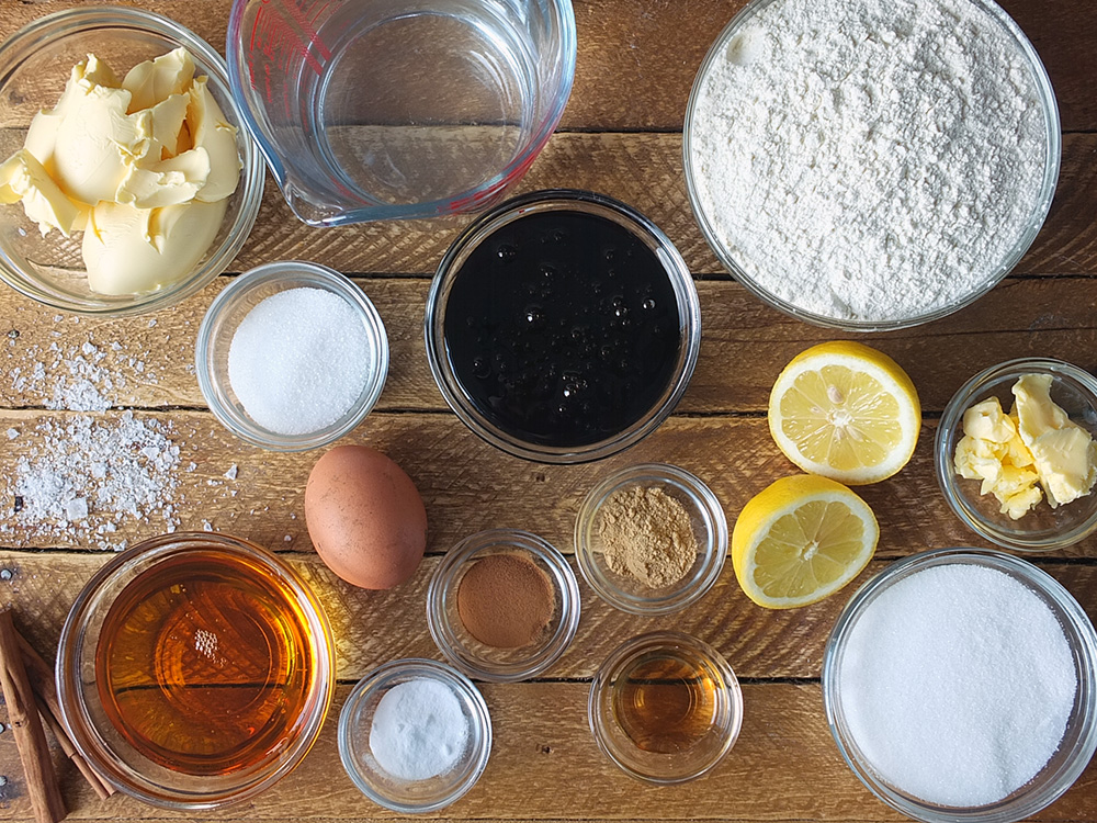 Ingredients for Gingerbread Cake with Lemon Sauce