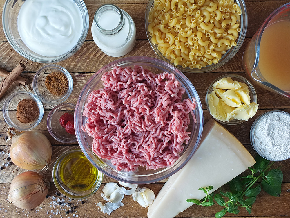 Ingredients needed for pastitsio Greek macaroni pie recipe