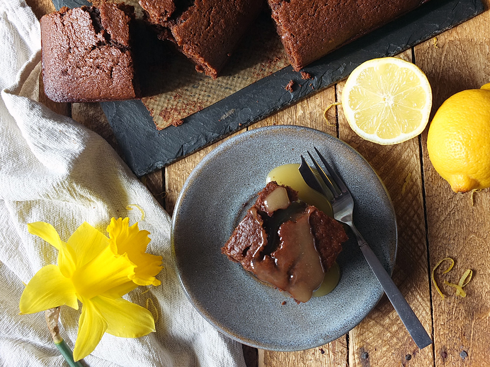 Gingerbread with lemon sauce #gingerbread #cake #baking #lemonsauce #elizabethskitchendiary