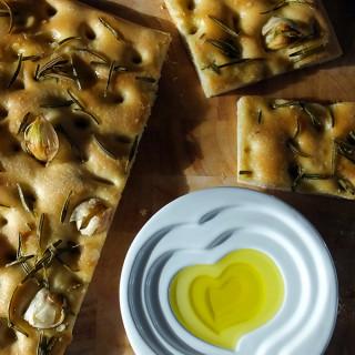 Garlic and Rosemary Focaccia with Smoked Sea Salt