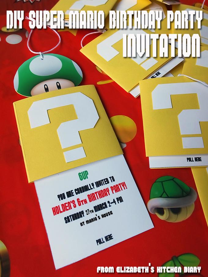 Diy Super Mario Bros Birthday Party Invitation Elizabeth S Kitchen Diary