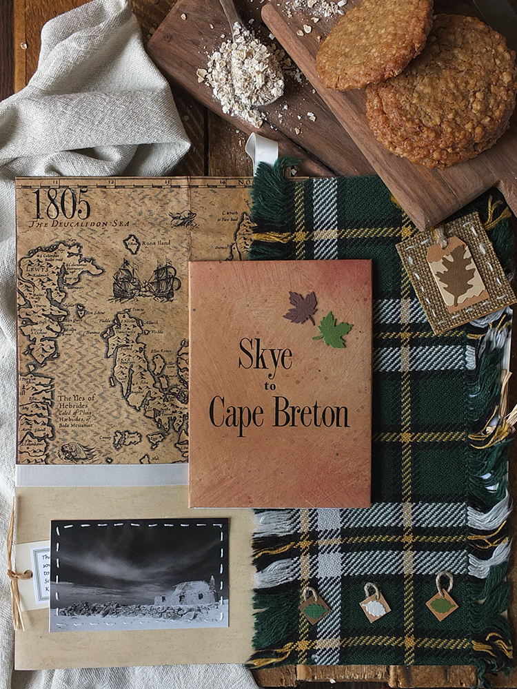 Cape Breton genealogy with hand woven Cape Breton tartan by Elizabeth Grant
