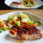 Bacon wrapped chicken with Pineapple and Pepper salsa