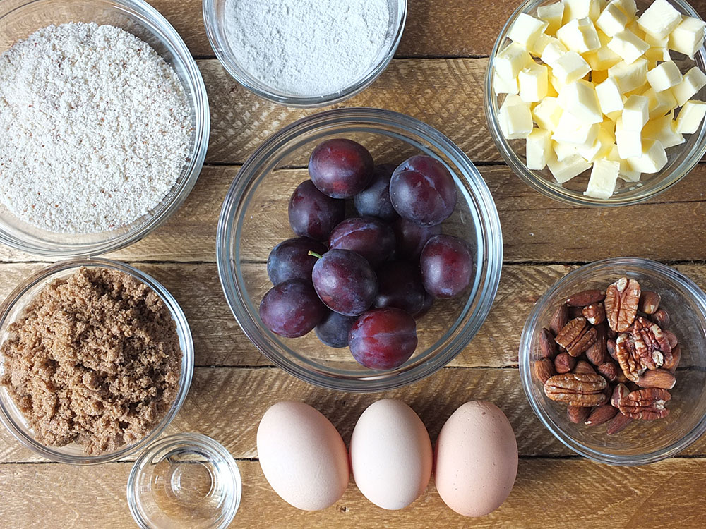 Ingredients for Hungarian Plum Cake Recipe with Almonds