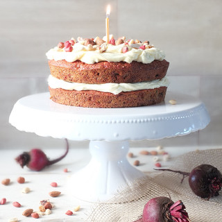 Carrot, Beetroot & Ginger Juice Pulp Cake with Cream Cheese Frosting
