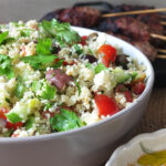 Mediterranean-inspired BBQ Koftas, Couscous Salad and Baharat Yogurt Dip