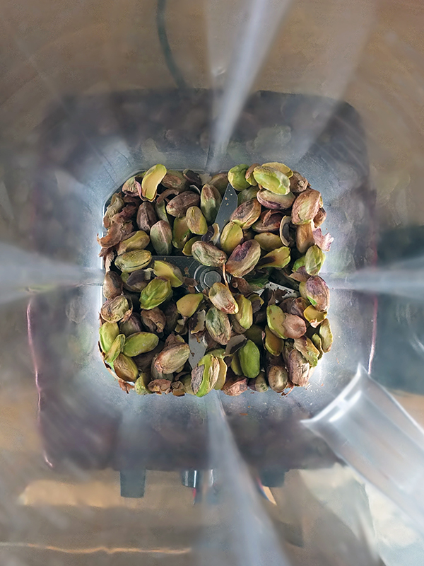 Grinding pistachios in the Froothie