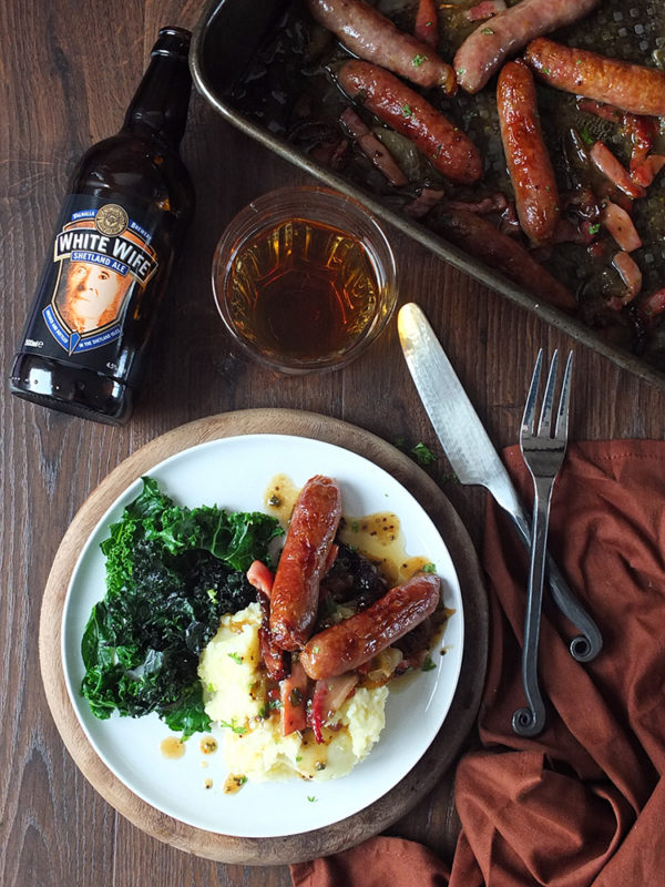 Beer-glazed Roast Iron Age Pork Sausages