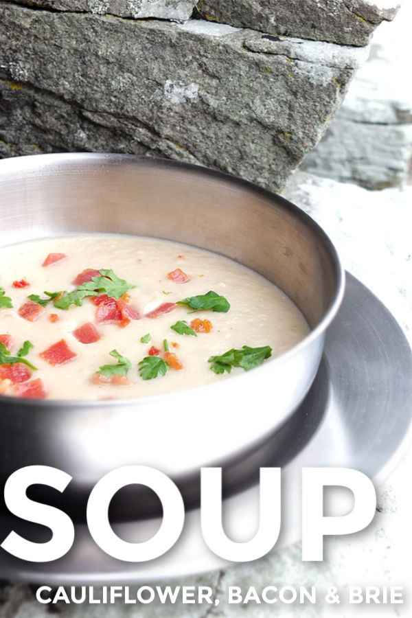 Cauliflower Bacon and Brie Soup #brie #cheese #cauliflower #bacon #soup #easyrecipe
