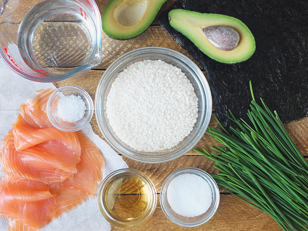 Ingredients for Avocado and Smoked Salmon Maki Sushi