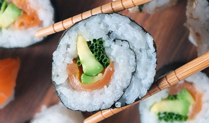 Smoked Salmon and Avocado Maki Sushi Rolls