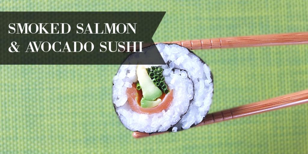 Smoked Salmon and Avocado Maki Sushi Rolls