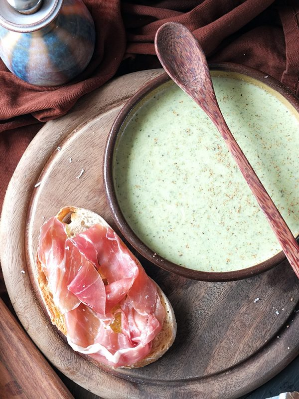 Broccoli and Watercress Soup with Grana Padano and Prosciutto di San Daniele Tartines